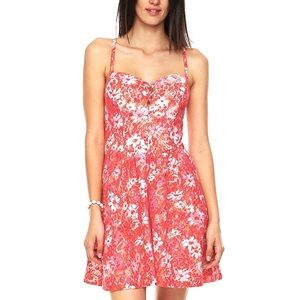 Guess Floral Lace Overlay Smocked Sun Dress